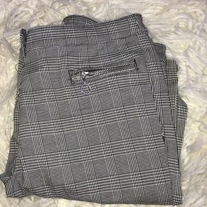 PLAID STRAIGHT LEG TROUSERS
